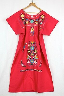 New Mexican Fiesta Red Dress Embroidered Floral Puebla Peasant Size Large