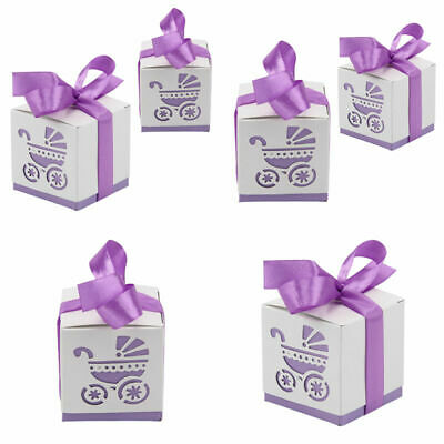 10Pcs Laser Cut Carriage Gift Candy Favour Boxes Baby Shower Boxes 5 Colours UK