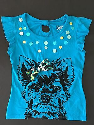 Nwt Justice Girls Dog Tee T 6 Bow Black Velour Dog Flutter Sleeves Blue Top Shir