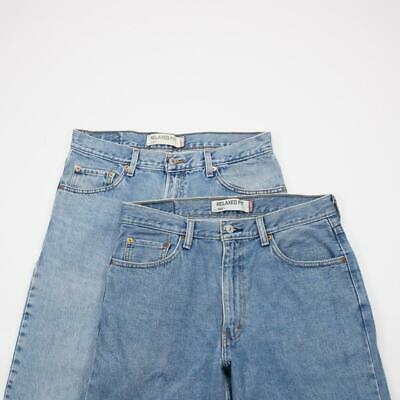 333458204ad LEVI STRAUSS 550 Relaxed Fit Tapered Leg Jeans Lt Wash Denim Mens 34x32 Lot  of 2