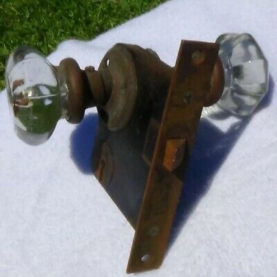 ANTIQUE CRYSTAL GLASS & BRASS DOOR KNOB and MORTISE LOCK