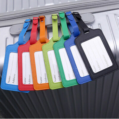 Leather Luggage Tag Travel Suitcase Bag Id Address Label Card Holder With Strap