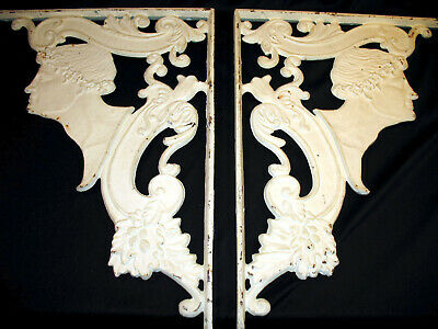 Antique Rare Matched Pair Cast Iron Wall Brackets Supports
