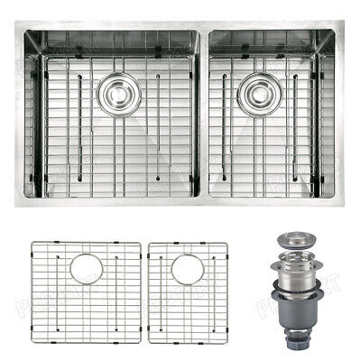 Primart 33 inch Undermount Kitchen sinks 16 Gauge 60/40 Double Stainless Steel