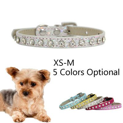 Rhinestone PU Leather Collar Crystal Diamond Dog Collar for Small Large Dogs