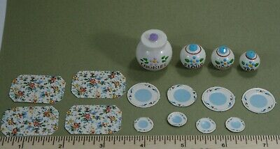 LOT Dollhouse Miniature Paper Placemat Plate Wood Jars cookies flour sugar tea
