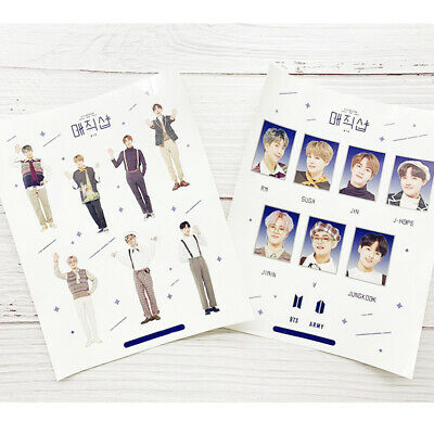 2 Sheets Set Kpop BTS 6th Anniversary Cute Photo Sticker Hand Painted Stickers