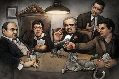 X3210 Scarface Godfather Classic Movie Gangster Playing Poker Art Silk Poster