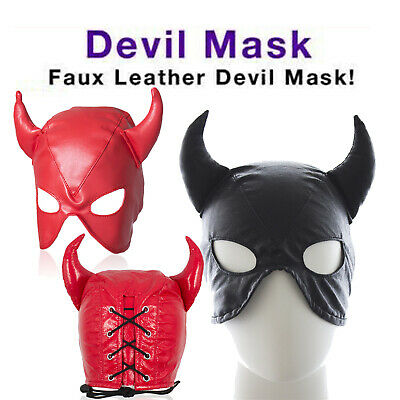 PU Leather Open Eye Mouth Head Mask Slave Harness Roleplay Horn Hood