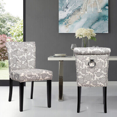 2 x Linen Dining Fabric Chair Accent Chair Scroll Buttoned Back Home Restaurants