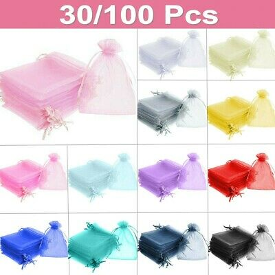 30 /100 Organza Wedding Party Favour Gift Candy Bags Jewellery Pouch Large Small