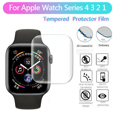 3D Full Cover For Apple Watch Series 4 3 2 Tempered Glass Screen Film 38mm/42mm