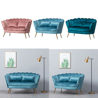 1+2 Seater Scalloped Velvet Sofa Armchair Settee Suite Couch Chair Lotus Design