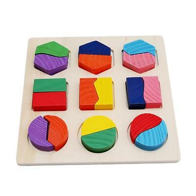 Kids Baby Wooden Learning Geometry Educational Toys Cartoon Puzzle Montessori C
