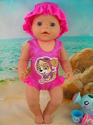 "Dolls clothes for 17"" Baby Born doll~PAW PATROL 'SKYE' PINK SWIMMING COSTUME SET"