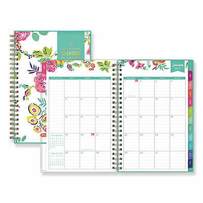 """2020 PINK MONTHLY Thin PLANNER 10X7/"""" Rainbow FLOWERS INSIDE Notes 17-Months 8//19"""