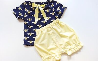 Beautiful Bee Top and bloomer set girls baby's summer sping clothes handmade