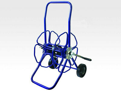 Blue Heavy Duty Metal Hose Reel With Wheels - Only Reel