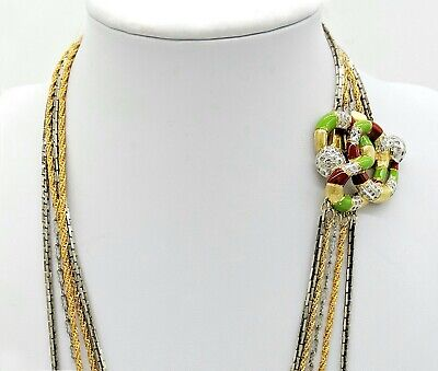 Pierre Cardin Vintage Couture Statement Necklace Enamel Snake Long Gold Chains