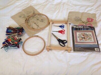 Bundle Of Embroidery And Cross Stitch Items Frames Cottons Thread