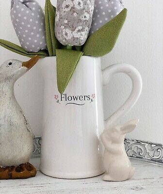 White Vintage French Chic Ceramic Flower Jug Floral Vase Pitcher Home, Mum Gift