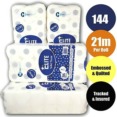 144x21m Toilet Tissue Rolls ELITE™ 2Ply Luxury Quilted and Embossed Tissue Paper