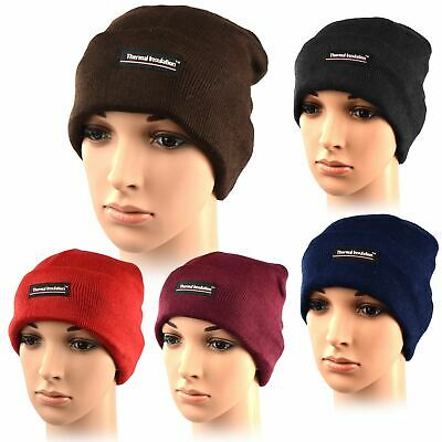 717291e77586bb Mens Nitted Thermal Beanie Insulated Warm Winter Outdoor Ski Hat Wooly Lined