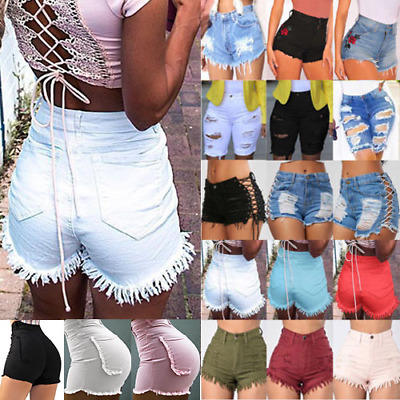 Women Lady Classic High Waist Stretch Ripped Distress Denim Jean Shorts Hotpants