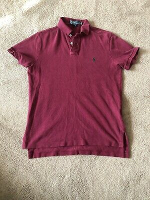 Mens Ralph Lauren Short Sleeve Polo Shirt Size Small Colour Maroon