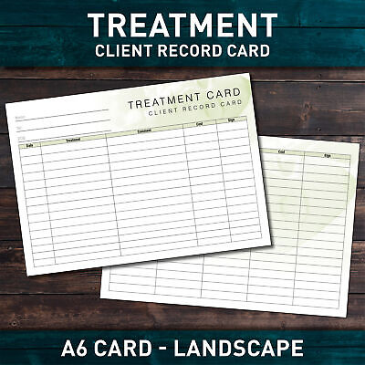 Treatment Additional Client Record Card for Nail/Beauty/Hair/Massage x50 PACK A6