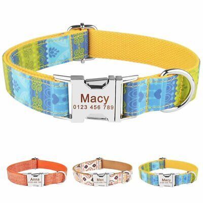 Small Large Nylon Personalised Dog Collar Boy Girl Name ID Tags Custom Engraved