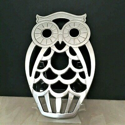 """Vintage Leonard Silver Plate Wall Hanging Owl Buffet Trivet Made in Italy 10"""""""