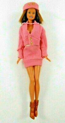 Vintage Barbie Fashion Doll Wearing Clone Outfit w/Matching Hat Necklace Boots