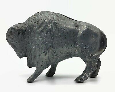 Marked Vallead Aluminum Bison Penny Bank Home Decor Wild Animal