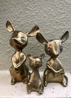 VINTAGE THREE BRASS MICE MOUSE FAMILY Figurines Or Paperweights - MID CENTURY