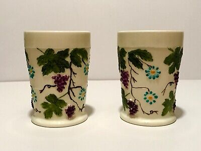 2 Antique Eapg Signed Northwood Custard Glass Grape & Leaves Pattern Tumblers