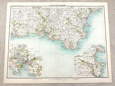 1890 Antique Map of Plymouth Devon Tor Bay 19th Century Original