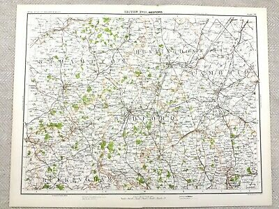 1890 Antique Map of Bedford Bedfordshire County 19th Century Original