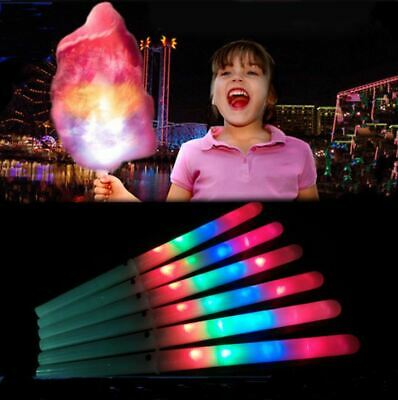 LED Candy Floss Glow Sticks Cotton Light Up Fairy Party Flashing Cone Stick UK