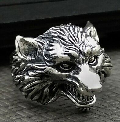 925 Sterling Silver Men's wolf  Retro ring rings Jewelry S3404
