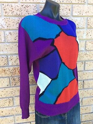 Vintage 80's Jumper Purple Red Blue Colourful Size 12 Stretch Knit Sweater Retro