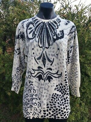Vintage 80s Angora & Lambswool Jumper Black Ivory Sequinned Sweater Size M Retro