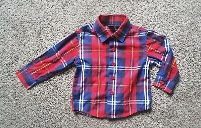 NAUTICA shirt~baby boy 12 months~button up~casual~long sleeve~red~blue~plaid