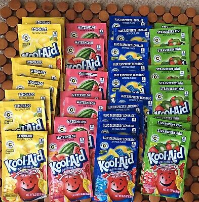 NEW 48 Kool Aid Packets Variety Pack Unsweetened Drink Mix 2 Quarts 4 Flavors
