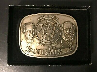 Vintage Smith & Wesson S&W Belt Buckle Brass Gold Rhodium Model 682 Limited Ed.