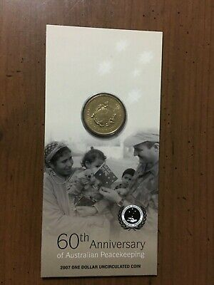 2007 $1 One Dollar Coin 60th Anniversary Of Australian Peacekeeping RAM Carded
