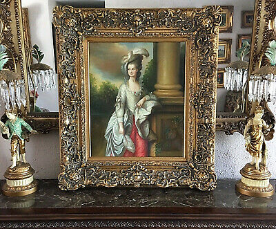 Antique Style Oil Painting Portrait of a Beautiful 18th C. Woman Large Frame