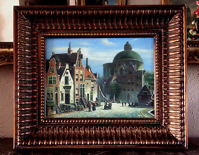 Antique Style Oil Painting Rural Dutch Village Street Scene Antwerp Art Framed