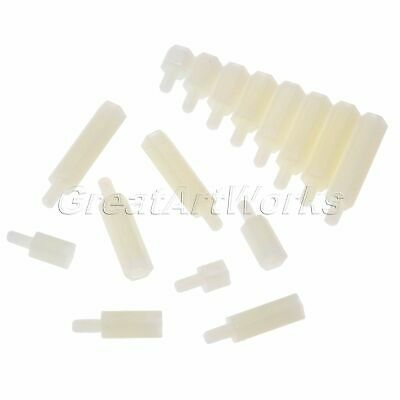 100PCS White Nylon Hex Spacers Screw Stand off Nut Accessory Repair Assorted Kit