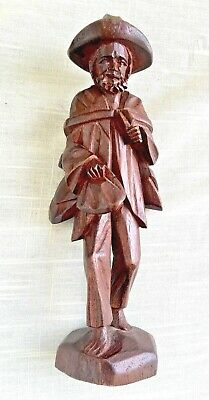 Vintage Hand Carved Wood Figure - Peasant Man - ? Mexico - 7 Inches